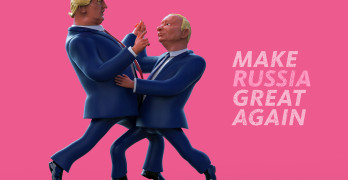 January 14 2017: Character portrait of Donald Trump and Vladimir Putin dancing. 3D illustration