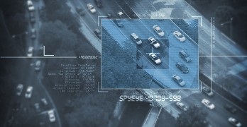 Spy Satellite Digital Bird Eye View - Search For Suspicious Car in Afternoon Commute. Digital Spy Targeting Theme. Surveillance Systems.