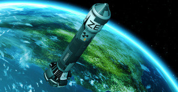 The Nuclear Rocket Launch. Realistic 3D Rendering.