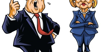 Presidential Candidates Donald Trump Vs Hillary Clinton Cartoon